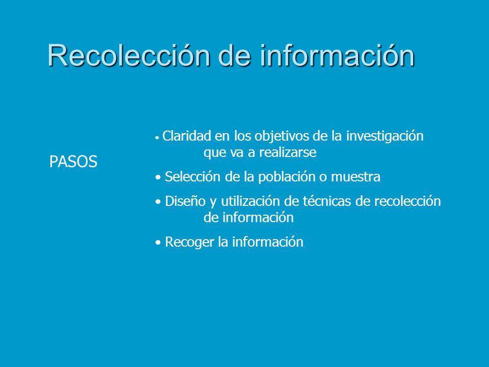 Recolección de información PASOS Claridad en los objetivos de la investigación que va a realizarse Selección de la población o muestra Diseño y utiliz