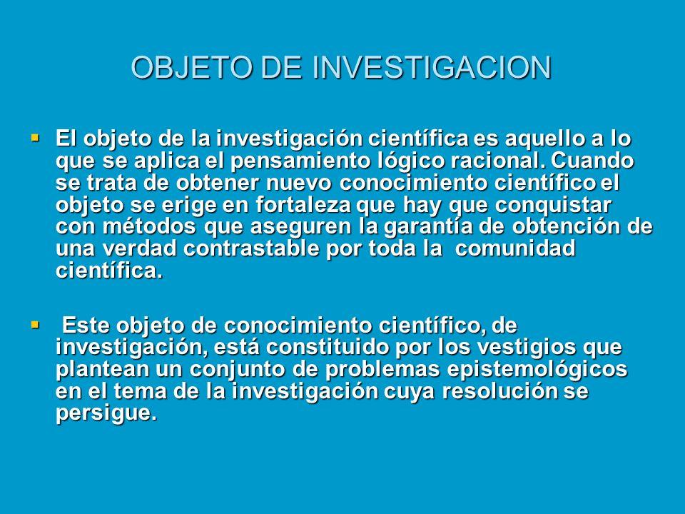 OBJETO DE INVESTIGACION El objeto de la investigación científica es aquello a lo que se aplica el pensamiento lógico racional. Cuando se trata de obte
