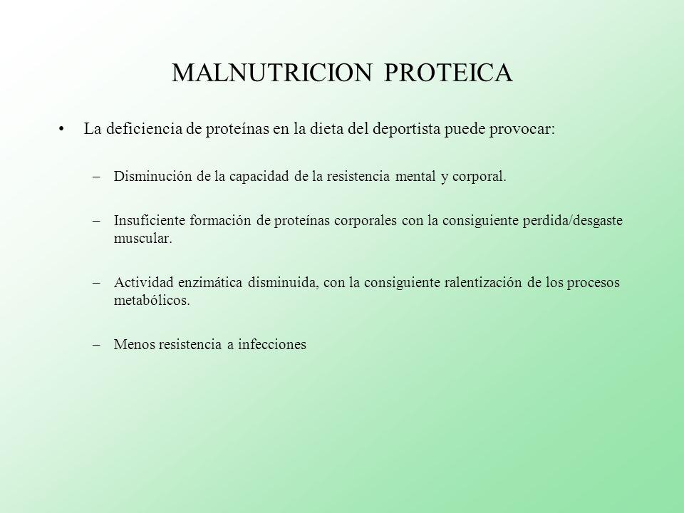 MALNUTRICION PROTEICA La deficiencia de proteínas en la dieta del deportista puede provocar: –Disminución de la capacidad de la resistencia mental y c