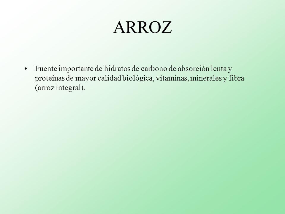 ARROZ Fuente importante de hidratos de carbono de absorción lenta y proteínas de mayor calidad biológica, vitaminas, minerales y fibra (arroz integral