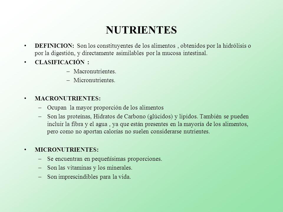 NUTRIENTES DEFINICION: Son los constituyentes de los alimentos, obtenidos por la hidrólisis o por la digestión, y directamente asimilables por la muco