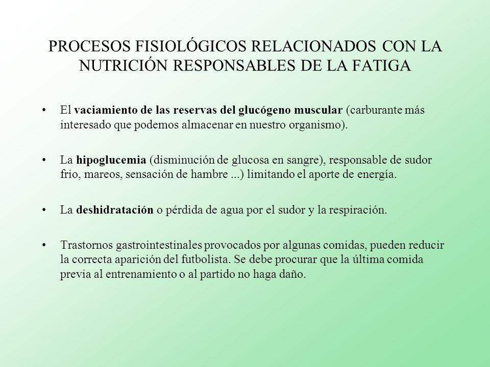 PROCESOS FISIOLÓGICOS RELACIONADOS CON LA NUTRICIÓN RESPONSABLES DE LA FATIGA El vaciamiento de las reservas del glucógeno muscular (carburante más in
