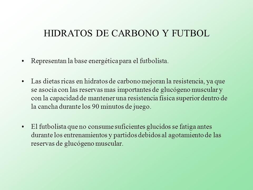 HIDRATOS DE CARBONO Y FUTBOL Representan la base energética para el futbolista. Las dietas ricas en hidratos de carbono mejoran la resistencia, ya que