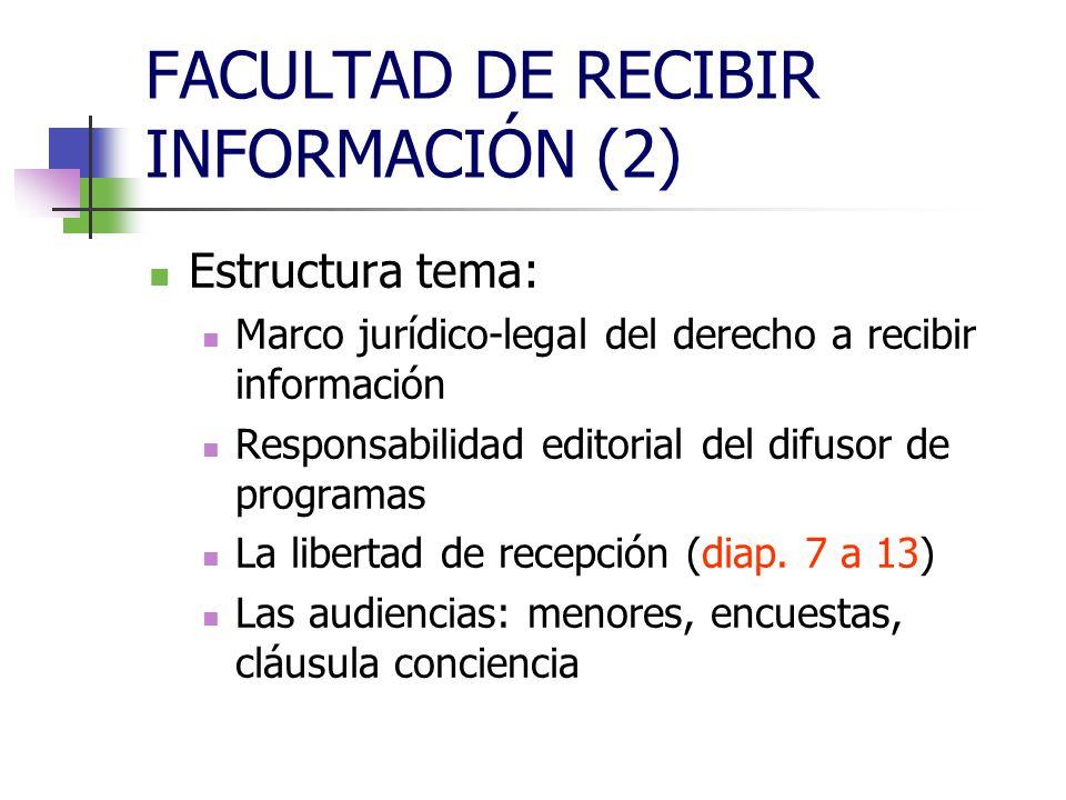 FACULTAD DE RECIBIR INFORMACIÓN (2) Estructura tema: Marco jurídico-legal del derecho a recibir información Responsabilidad editorial del difusor de programas La libertad de recepción (diap.