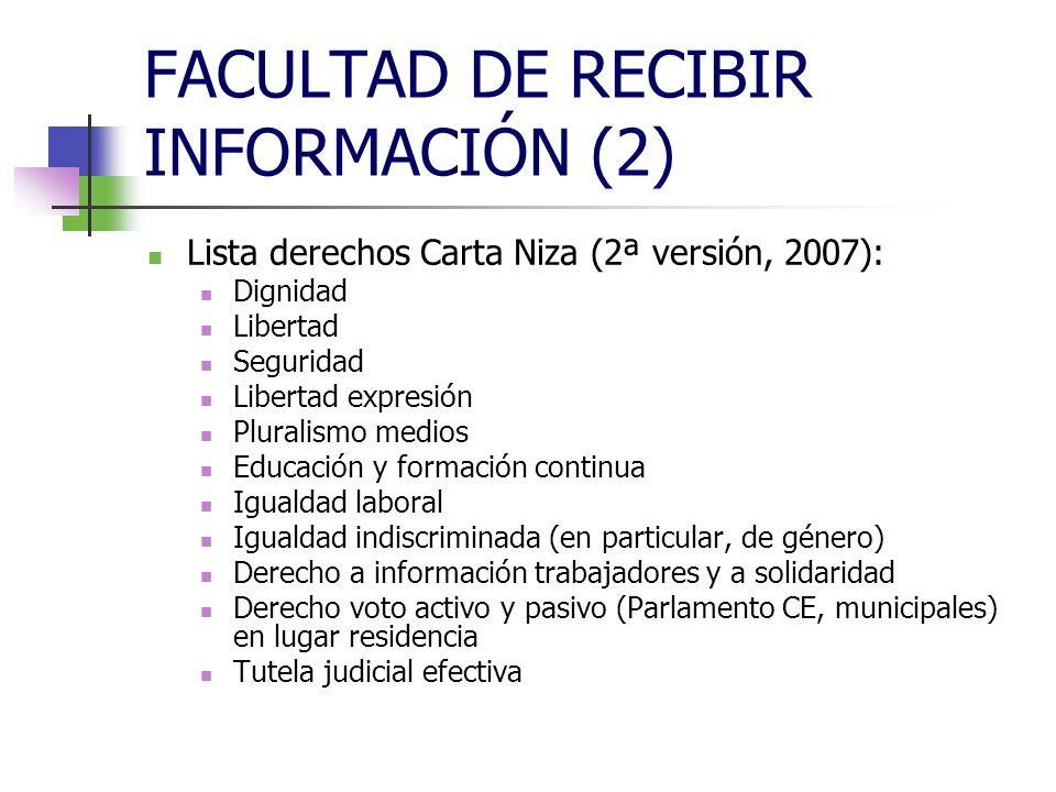 FACULTAD DE RECIBIR INFORMACIÓN (2) CONCEPTOS: Difusión Emisión Transmisión Retransmisión
