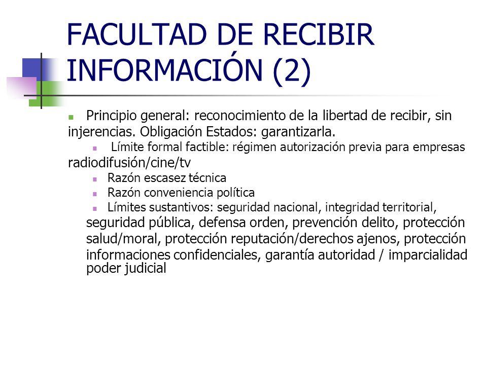 FACULTAD DE RECIBIR INFORMACIÓN (2) AUDIOVISUAL Ilicitud mensaje publicitario: ATENCIÓN, APROBADA DVA 2007/65, DE SERVICIOS MEDIOS AUDIOVISUALES SIN FRONTERAS, MODIFICANDO DVA TV SIN FRONTERAS (jueves, 24 abril 2009) Formal: exceso tiempo legal (20%); subliminal; ubicación perjudicial para derechos titulares emisiones, integridad contenidos, valor emisiones;encubierta; condiciones técnicas ilegales (canales televenta, canales autopromoción, patrocinio, medidas específicas) Sustantiva: engañosa; contraria a intereses consumidores; que influya en la línea editorial; que distorsione competencia; que incumpla normativa publicitaria; que infrinja el Título I Constitución; la desleal; la denigrante; la comparativa; que lo sea de tabaco y de alcohol; que no respete normas especiales (alimentos, anticonceptivos, medicamentos, productos sanitarios, juegos envite...)