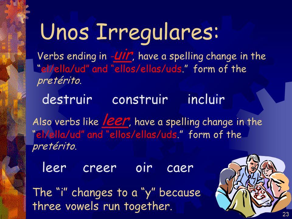 23 Verbs ending in - uir, have a spelling change in theel/ella/ud and ellos/ellas/uds. form of the pretérito. destruir construir incluir Unos Irregula