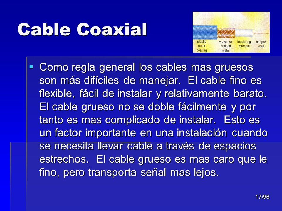 17/96 Cable Coaxial Como regla general los cables mas gruesos son más difíciles de manejar. El cable fino es flexible, fácil de instalar y relativamen