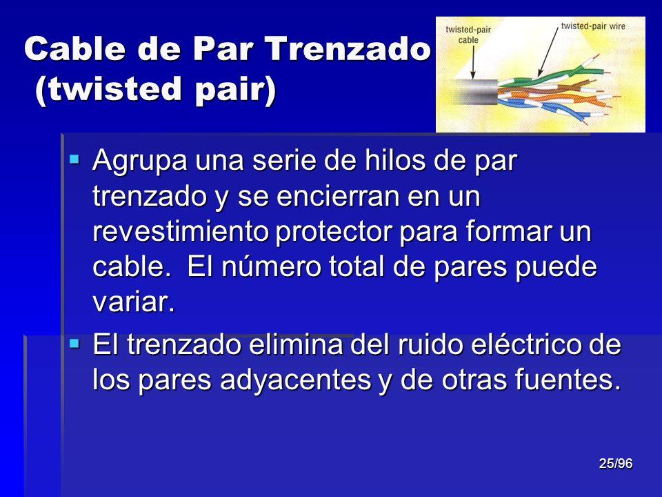 25/96 Cable de Par Trenzado (twisted pair) Agrupa una serie de hilos de par trenzado y se encierran en un revestimiento protector para formar un cable