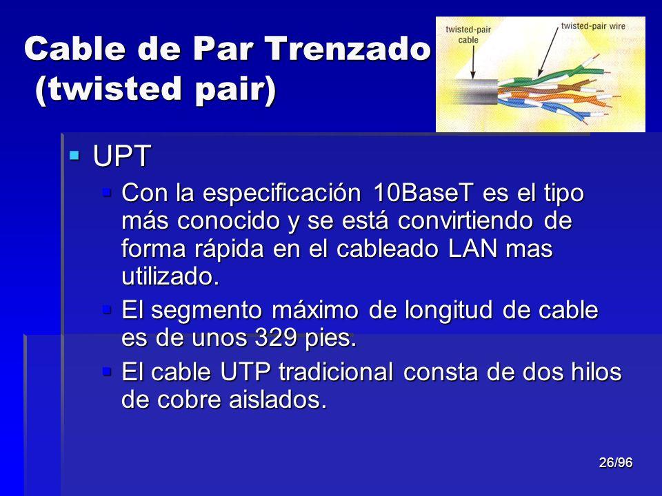 26/96 Cable de Par Trenzado (twisted pair) UPT UPT Con la especificación 10BaseT es el tipo más conocido y se está convirtiendo de forma rápida en el