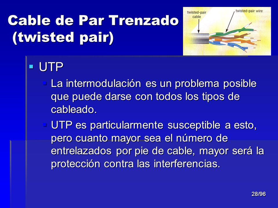 28/96 Cable de Par Trenzado (twisted pair) UTP UTP La intermodulación es un problema posible que puede darse con todos los tipos de cableado. La inter