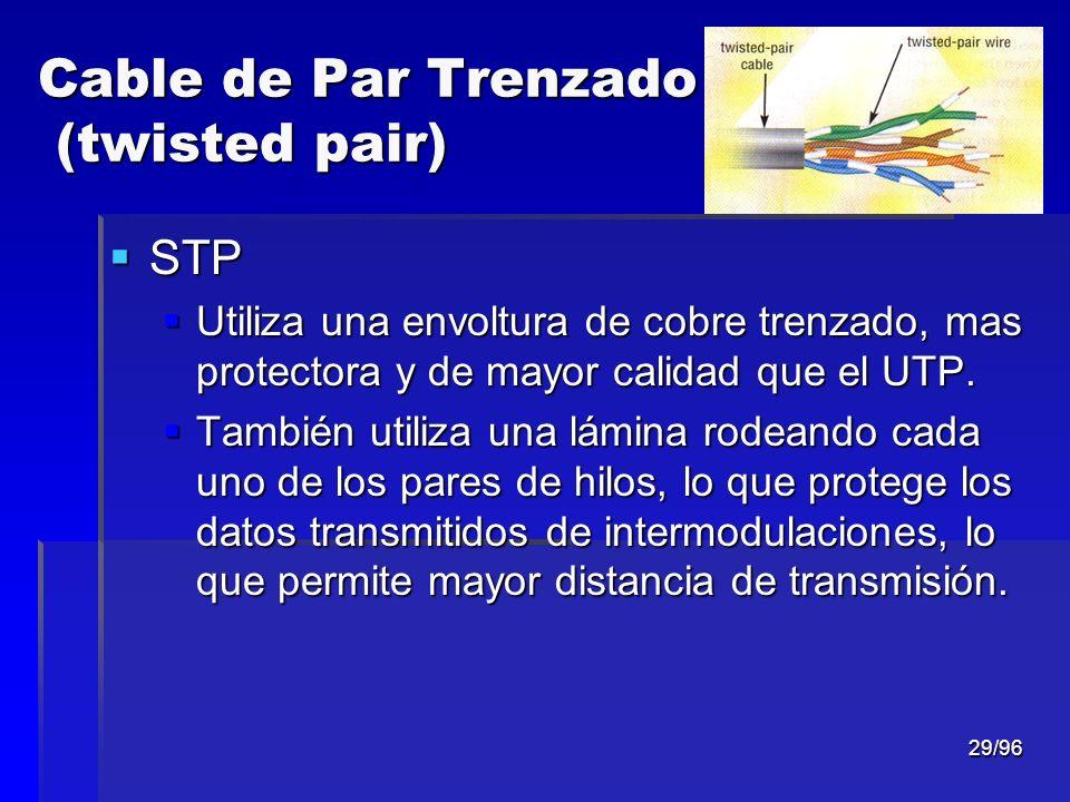 29/96 Cable de Par Trenzado (twisted pair) STP STP Utiliza una envoltura de cobre trenzado, mas protectora y de mayor calidad que el UTP. Utiliza una