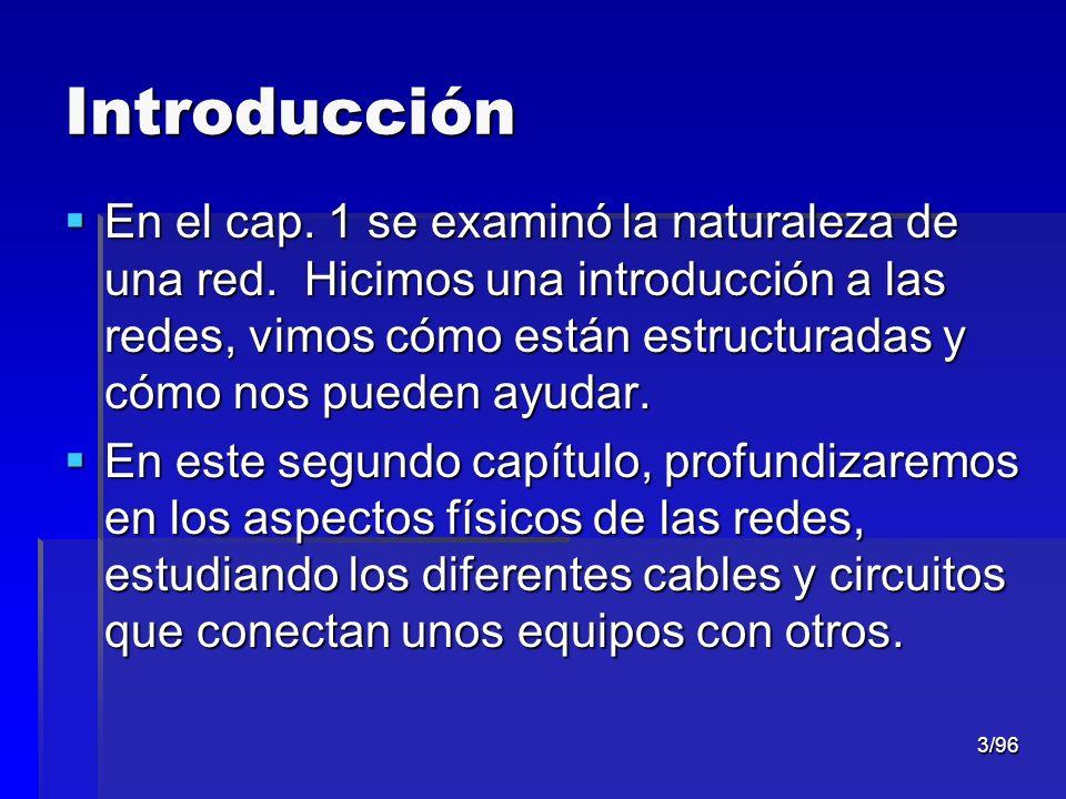 3/96 Introducción En el cap. 1 se examinó la naturaleza de una red. Hicimos una introducción a las redes, vimos cómo están estructuradas y cómo nos pu