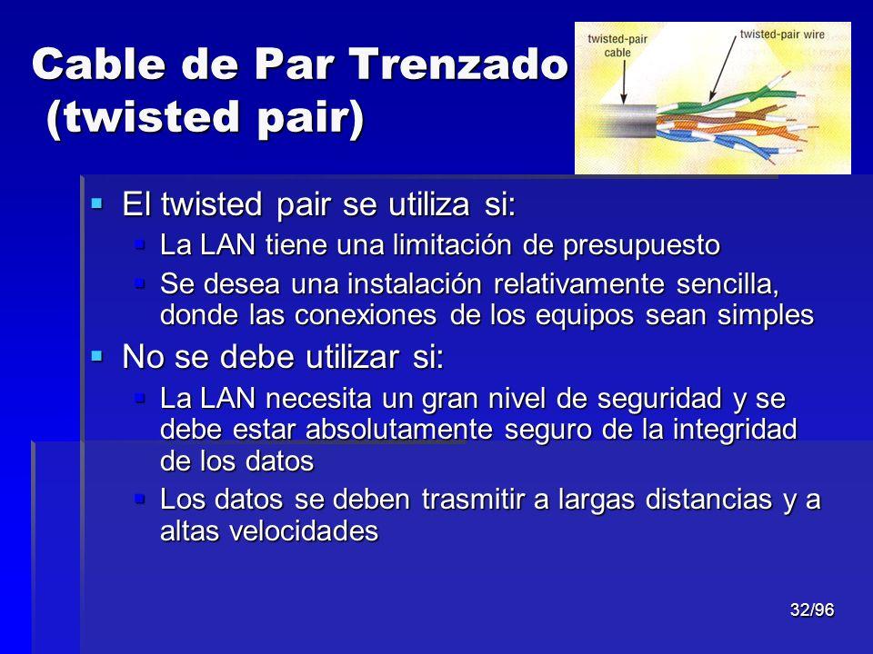 32/96 Cable de Par Trenzado (twisted pair) El twisted pair se utiliza si: El twisted pair se utiliza si: La LAN tiene una limitación de presupuesto La