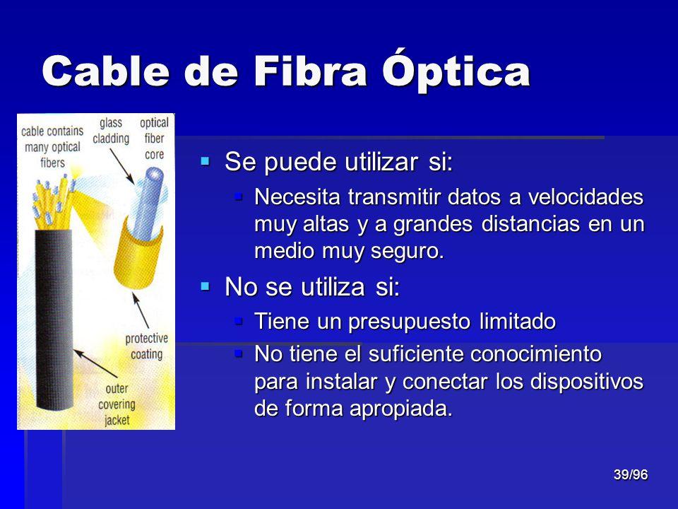 39/96 Cable de Fibra Óptica Se puede utilizar si: Se puede utilizar si: Necesita transmitir datos a velocidades muy altas y a grandes distancias en un