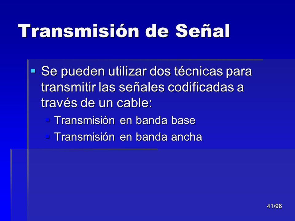 41/96 Transmisión de Señal Se pueden utilizar dos técnicas para transmitir las señales codificadas a través de un cable: Se pueden utilizar dos técnic