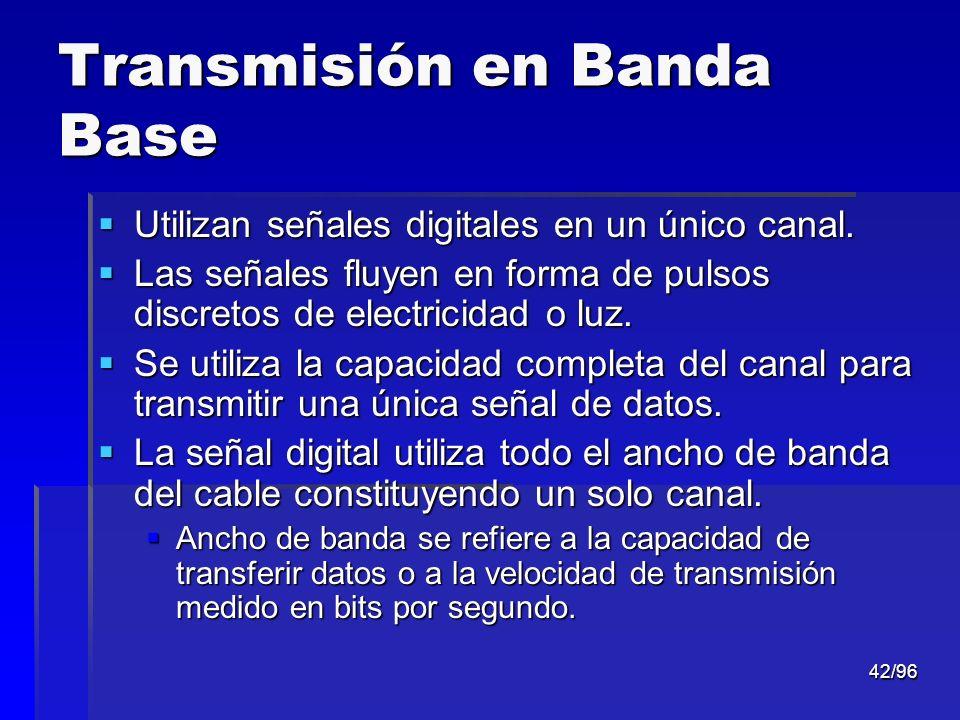 42/96 Transmisión en Banda Base Utilizan señales digitales en un único canal. Utilizan señales digitales en un único canal. Las señales fluyen en form
