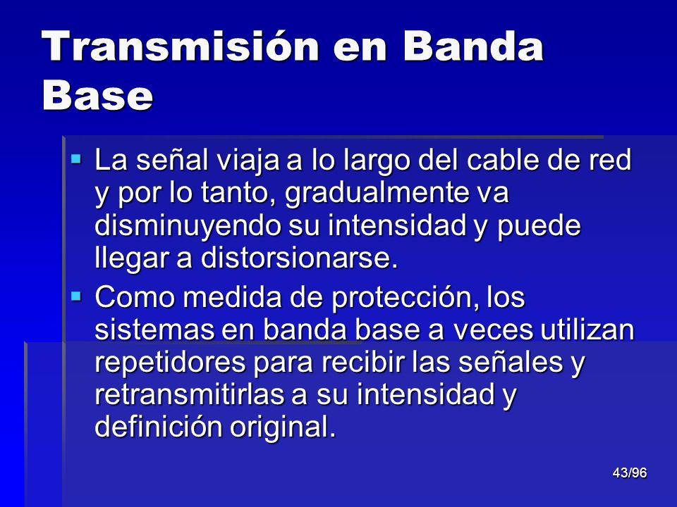 43/96 Transmisión en Banda Base La señal viaja a lo largo del cable de red y por lo tanto, gradualmente va disminuyendo su intensidad y puede llegar a
