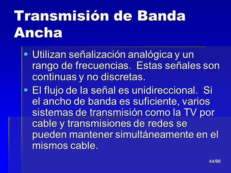 44/96 Transmisión de Banda Ancha Utilizan señalización analógica y un rango de frecuencias. Estas señales son continuas y no discretas. Utilizan señal