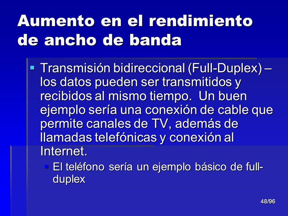 48/96 Aumento en el rendimiento de ancho de banda Transmisión bidireccional (Full-Duplex) – los datos pueden ser transmitidos y recibidos al mismo tie