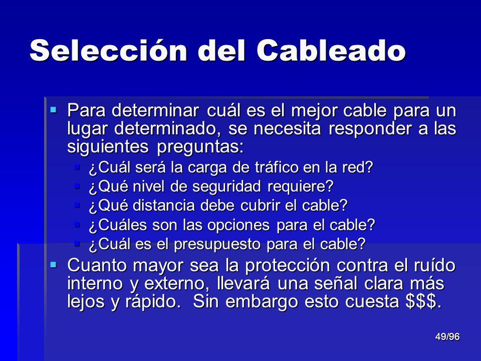 49/96 Selección del Cableado Para determinar cuál es el mejor cable para un lugar determinado, se necesita responder a las siguientes preguntas: Para