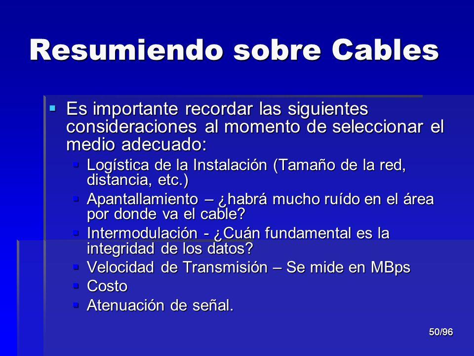 50/96 Resumiendo sobre Cables Es importante recordar las siguientes consideraciones al momento de seleccionar el medio adecuado: Es importante recorda