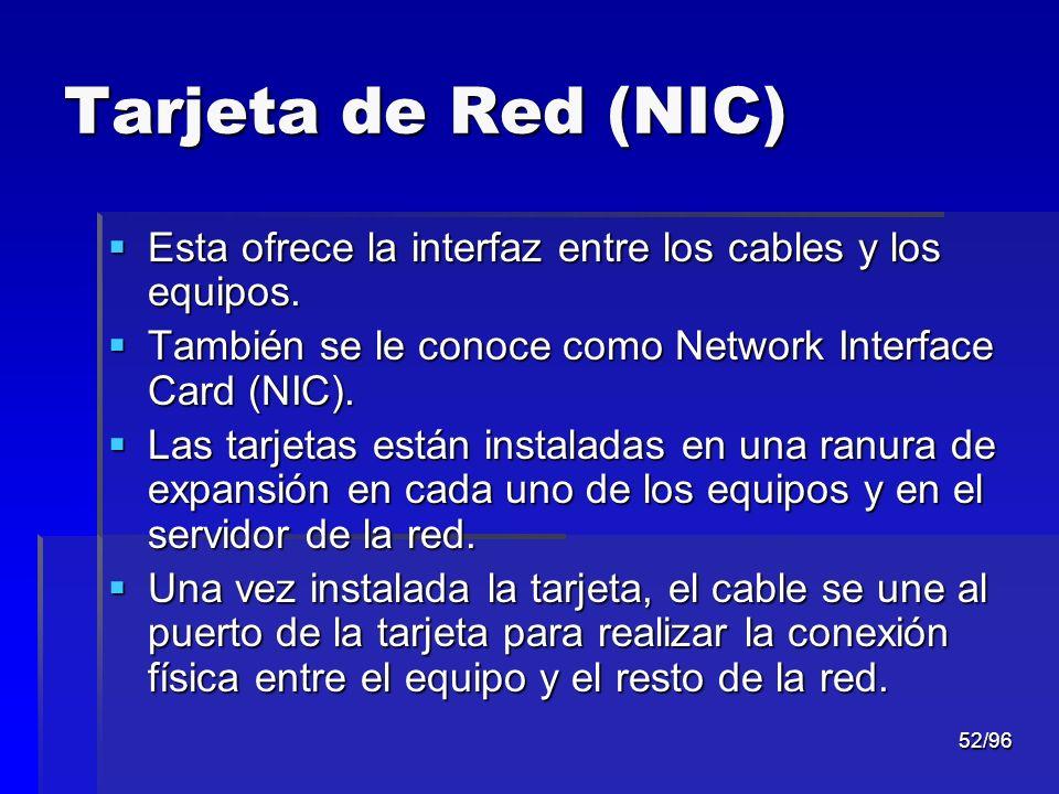 52/96 Tarjeta de Red (NIC) Esta ofrece la interfaz entre los cables y los equipos. Esta ofrece la interfaz entre los cables y los equipos. También se