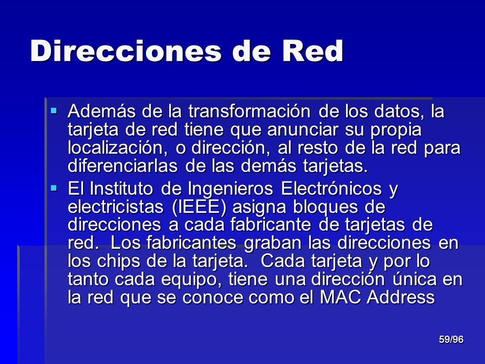 59/96 Direcciones de Red Además de la transformación de los datos, la tarjeta de red tiene que anunciar su propia localización, o dirección, al resto