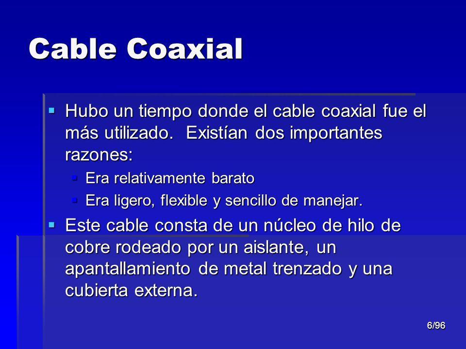 6/96 Cable Coaxial Hubo un tiempo donde el cable coaxial fue el más utilizado. Existían dos importantes razones: Hubo un tiempo donde el cable coaxial