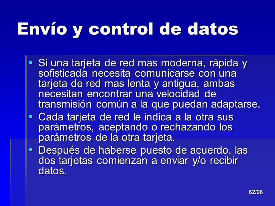 62/96 Envío y control de datos Si una tarjeta de red mas moderna, rápida y sofisticada necesita comunicarse con una tarjeta de red mas lenta y antigua