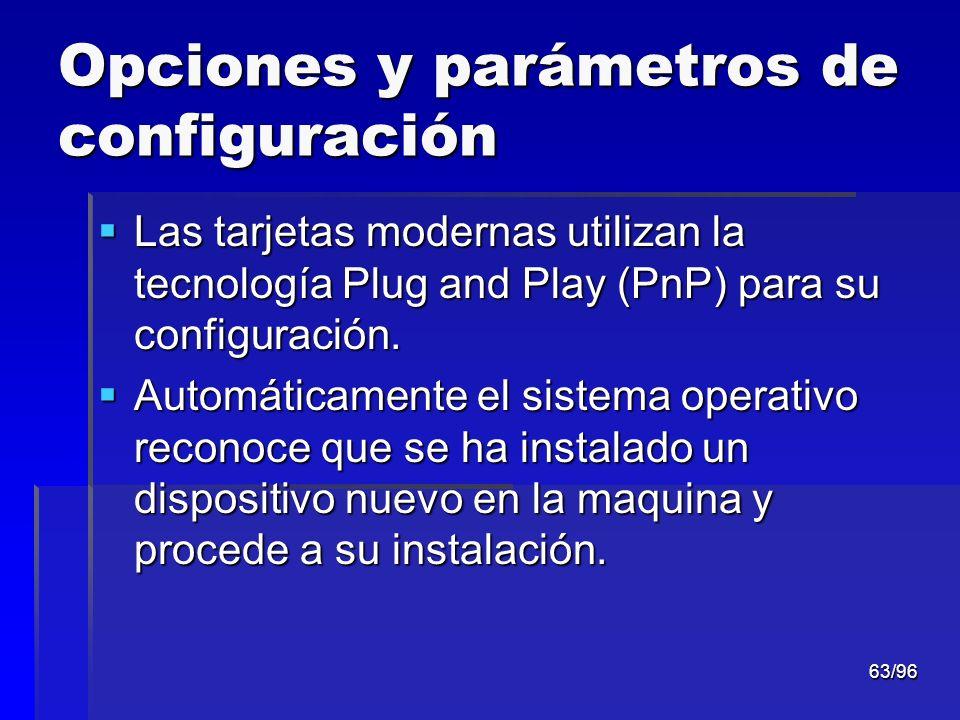 63/96 Opciones y parámetros de configuración Las tarjetas modernas utilizan la tecnología Plug and Play (PnP) para su configuración. Las tarjetas mode