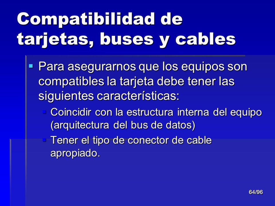 64/96 Compatibilidad de tarjetas, buses y cables Para asegurarnos que los equipos son compatibles la tarjeta debe tener las siguientes características