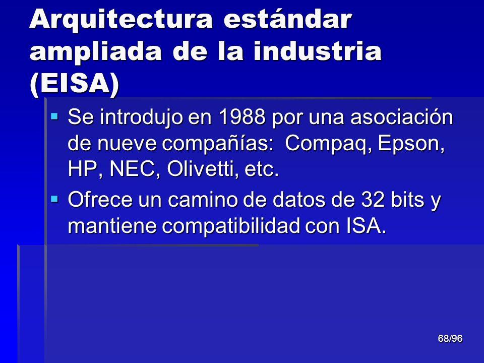 68/96 Arquitectura estándar ampliada de la industria (EISA) Se introdujo en 1988 por una asociación de nueve compañías: Compaq, Epson, HP, NEC, Olivet