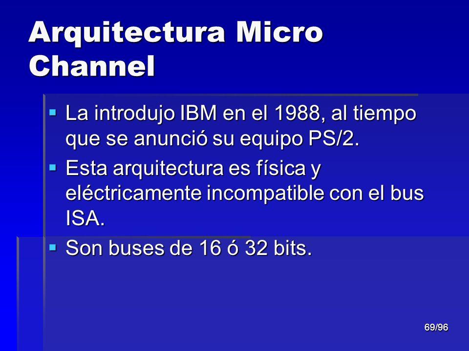 69/96 Arquitectura Micro Channel La introdujo IBM en el 1988, al tiempo que se anunció su equipo PS/2. La introdujo IBM en el 1988, al tiempo que se a