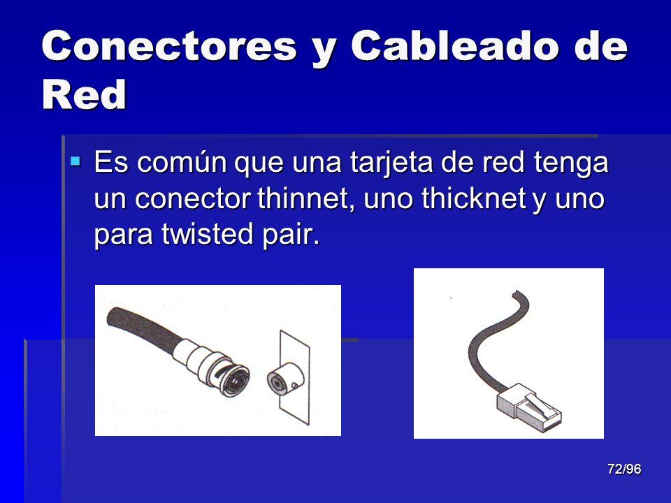 72/96 Conectores y Cableado de Red Es común que una tarjeta de red tenga un conector thinnet, uno thicknet y uno para twisted pair. Es común que una t