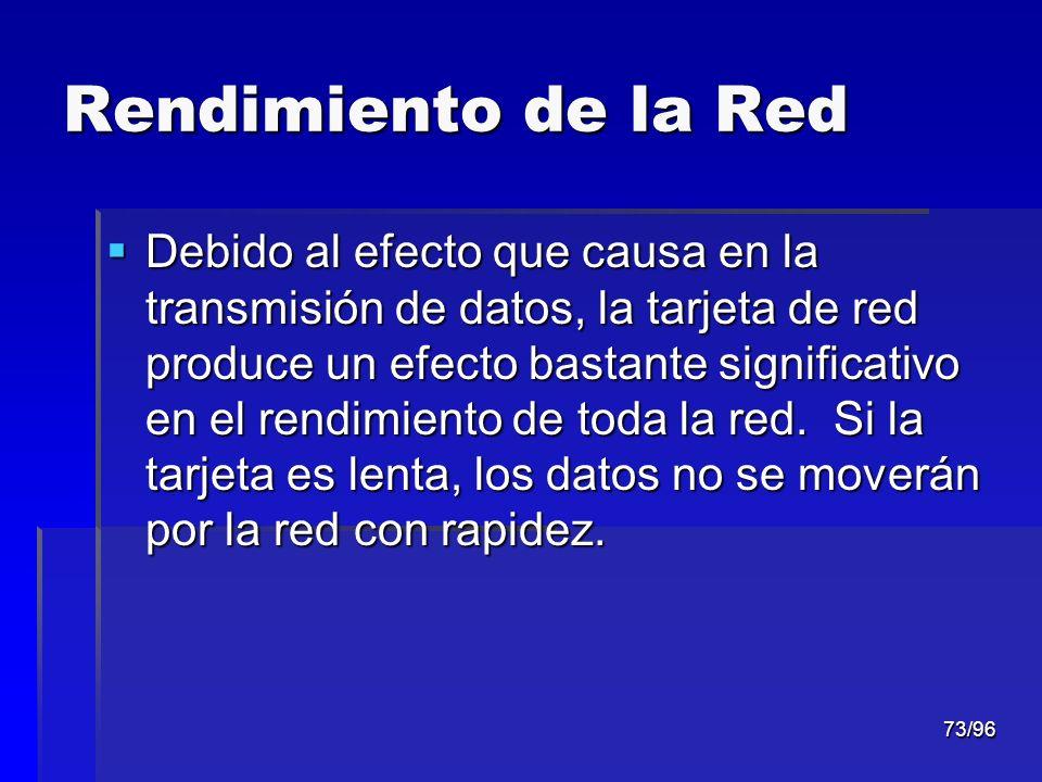 73/96 Rendimiento de la Red Debido al efecto que causa en la transmisión de datos, la tarjeta de red produce un efecto bastante significativo en el re