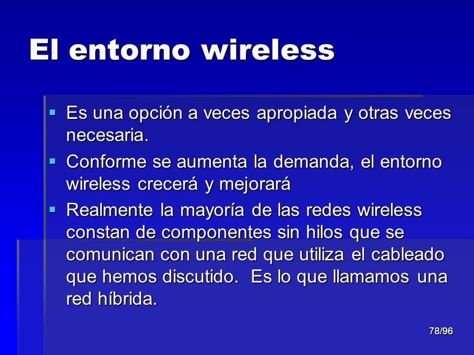 78/96 El entorno wireless Es una opción a veces apropiada y otras veces necesaria. Es una opción a veces apropiada y otras veces necesaria. Conforme s
