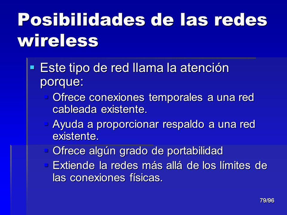 79/96 Posibilidades de las redes wireless Este tipo de red llama la atención porque: Este tipo de red llama la atención porque: Ofrece conexiones temp