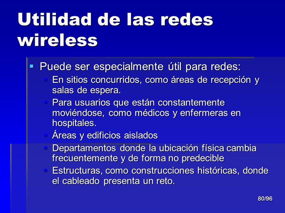 80/96 Utilidad de las redes wireless Puede ser especialmente útil para redes: Puede ser especialmente útil para redes: En sitios concurridos, como áre