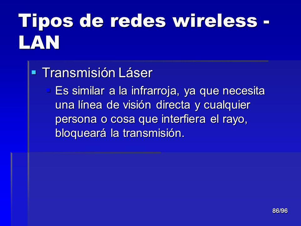 86/96 Tipos de redes wireless - LAN Transmisión Láser Transmisión Láser Es similar a la infrarroja, ya que necesita una línea de visión directa y cual