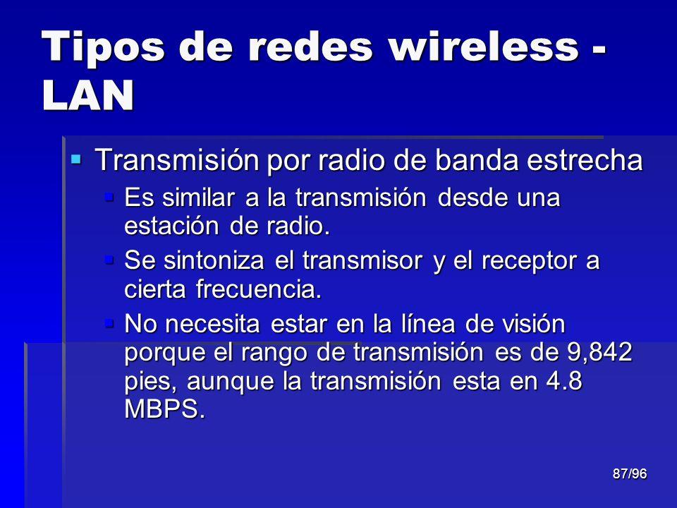 87/96 Tipos de redes wireless - LAN Transmisión por radio de banda estrecha Transmisión por radio de banda estrecha Es similar a la transmisión desde
