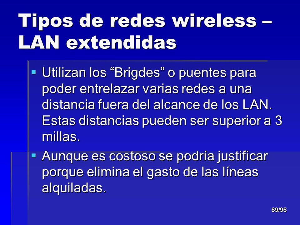 89/96 Tipos de redes wireless – LAN extendidas Utilizan los Brigdes o puentes para poder entrelazar varias redes a una distancia fuera del alcance de