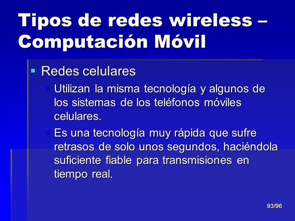 93/96 Tipos de redes wireless – Computación Móvil Redes celulares Redes celulares Utilizan la misma tecnología y algunos de los sistemas de los teléfo