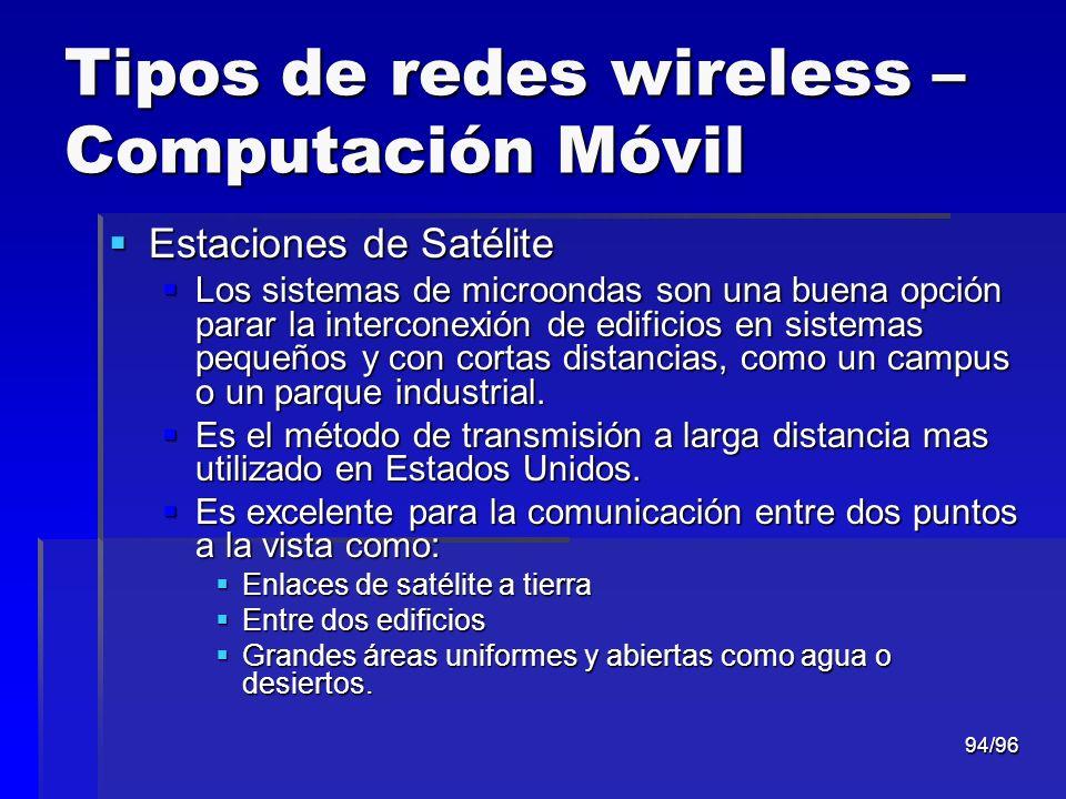 94/96 Tipos de redes wireless – Computación Móvil Estaciones de Satélite Estaciones de Satélite Los sistemas de microondas son una buena opción parar