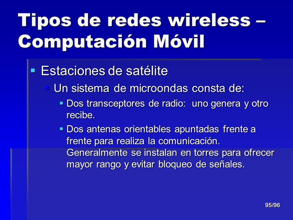 95/96 Tipos de redes wireless – Computación Móvil Estaciones de satélite Estaciones de satélite Un sistema de microondas consta de: Un sistema de micr