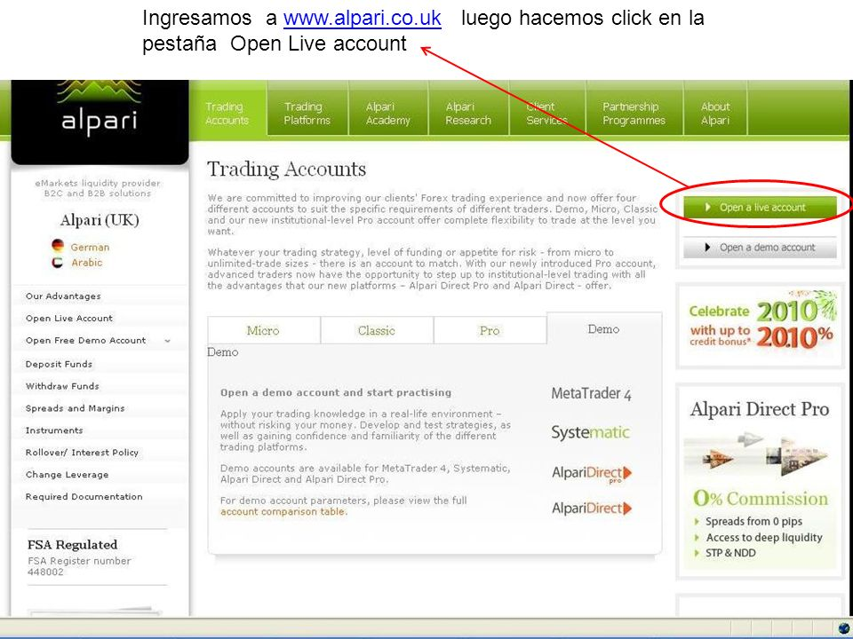 Ingresamos a www.alpari.co.uk luego hacemos click en la pestaña Open Live accountwww.alpari.co.uk