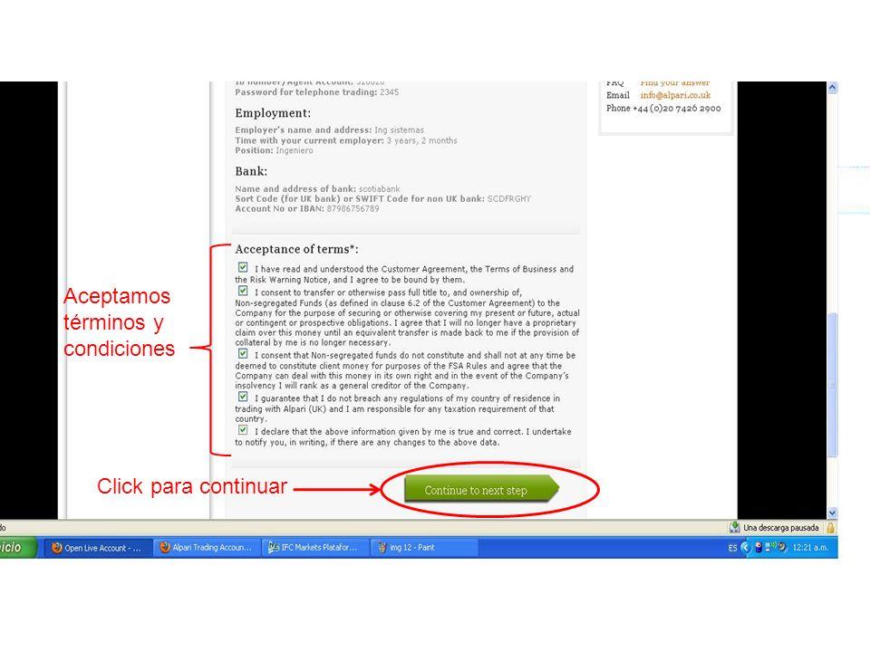 Aceptamos términos y condiciones Click para continuar