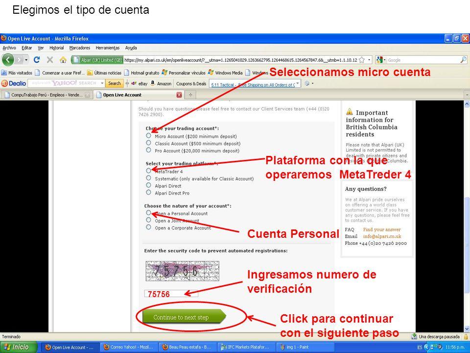 En el segundo paso podemos descargar archivos de términos y condiciones del servicio ofrecido por Alpari en formato (PDF) Click para continuar