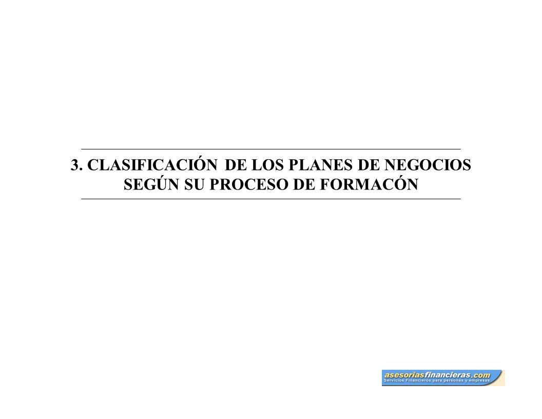 3. CLASIFICACIÓN DE LOS PLANES DE NEGOCIOS SEGÚN SU PROCESO DE FORMACÓN