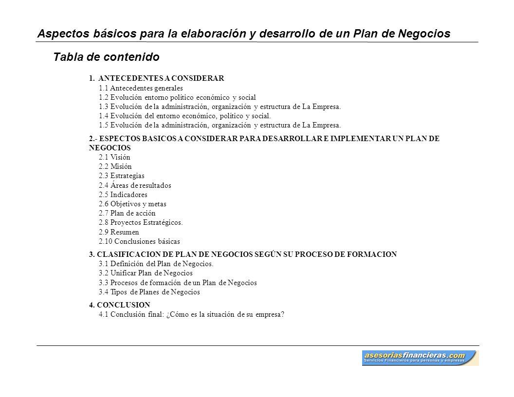 Aspectos básicos para la elaboración y desarrollo de un Plan de Negocios Tabla de contenido 1. ANTECEDENTES A CONSIDERAR 1.1 Antecedentes generales 1.